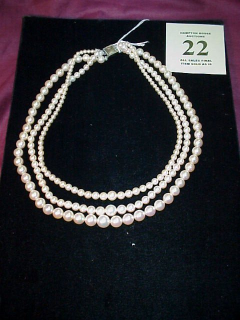 22J: Triple strand Pearl Necklace w/silver box clasp