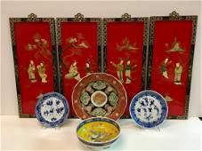 8 PCS - 4 CHINESE PANELS & 4 CHINESE BOWL / PLATES