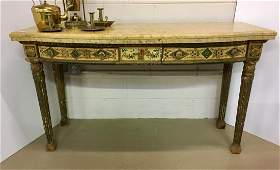 ITALIAN STYLE PAINTED GILT WOOD CONSOLE TABLE