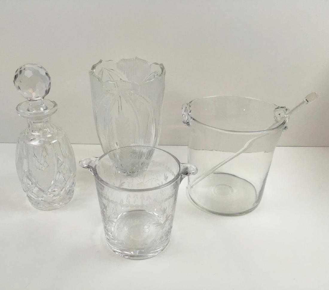 4 PCS - ICE BUCKETS, VASE AND DECANTER