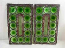 TWO ANTIQUE LEADED STAIN GLASS WINDOWS