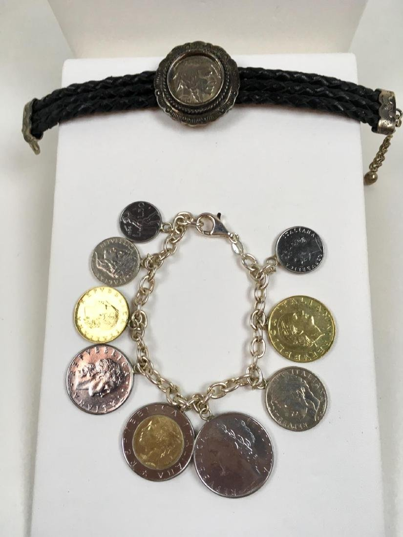 TWO STERLING SILVER COIN BRACELETS