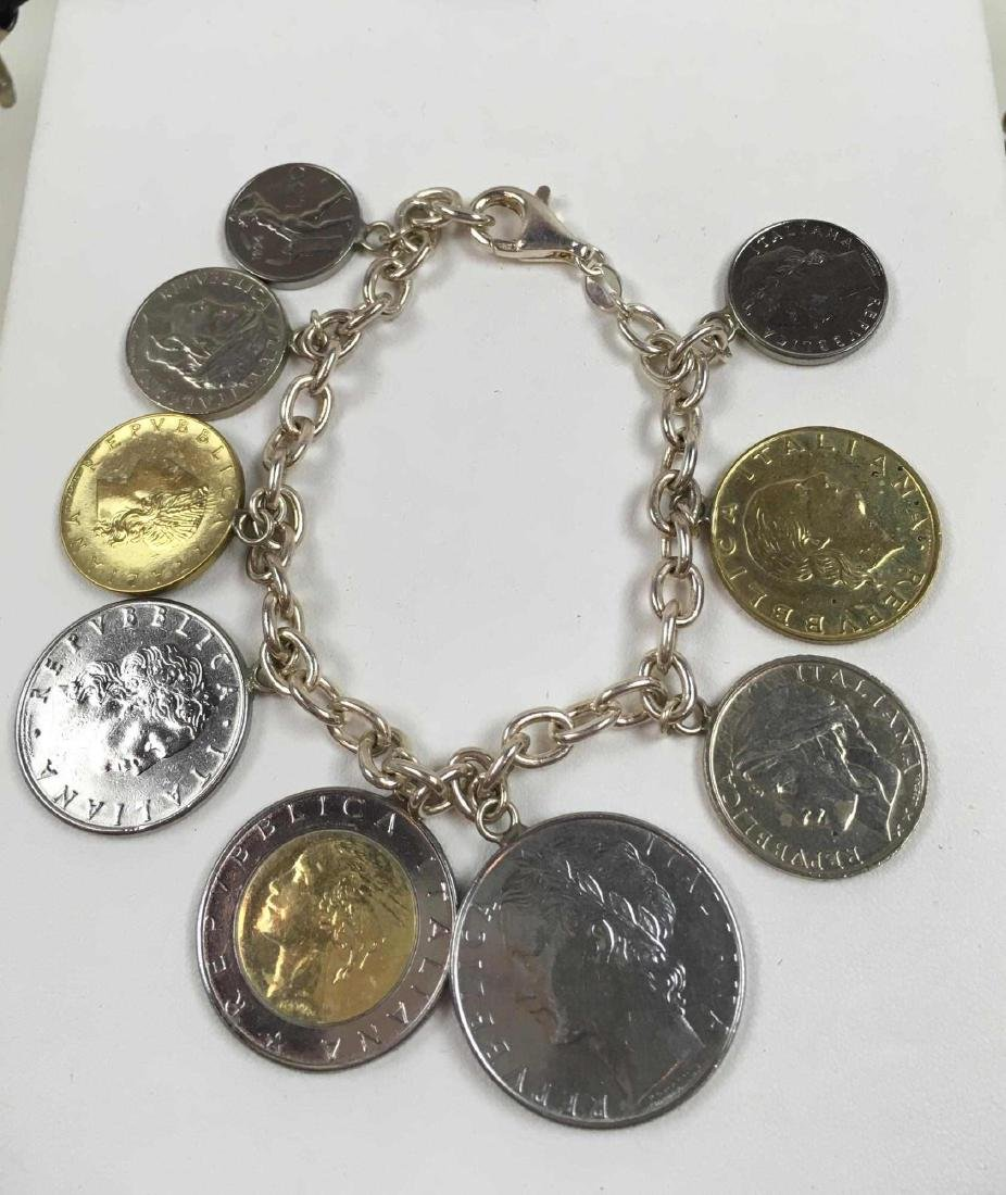 TWO STERLING SILVER COIN BRACELETS - 2
