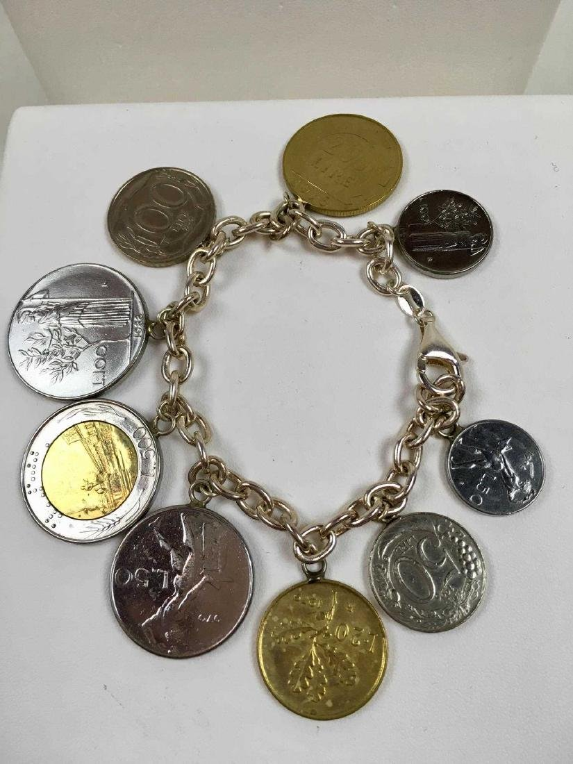 TWO STERLING SILVER COIN BRACELETS - 5