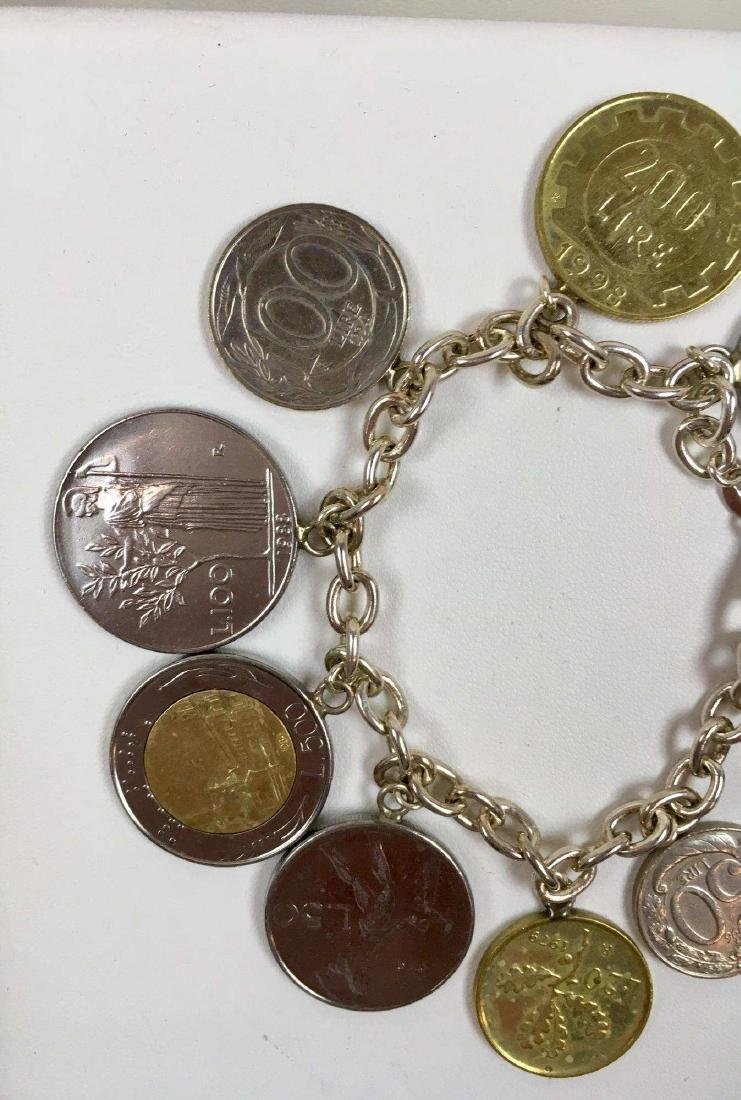 TWO STERLING SILVER COIN BRACELETS - 6