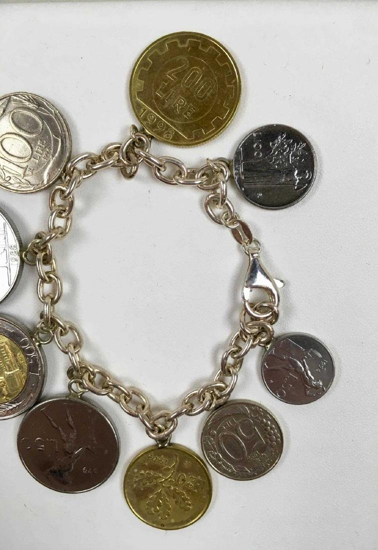 TWO STERLING SILVER COIN BRACELETS - 7