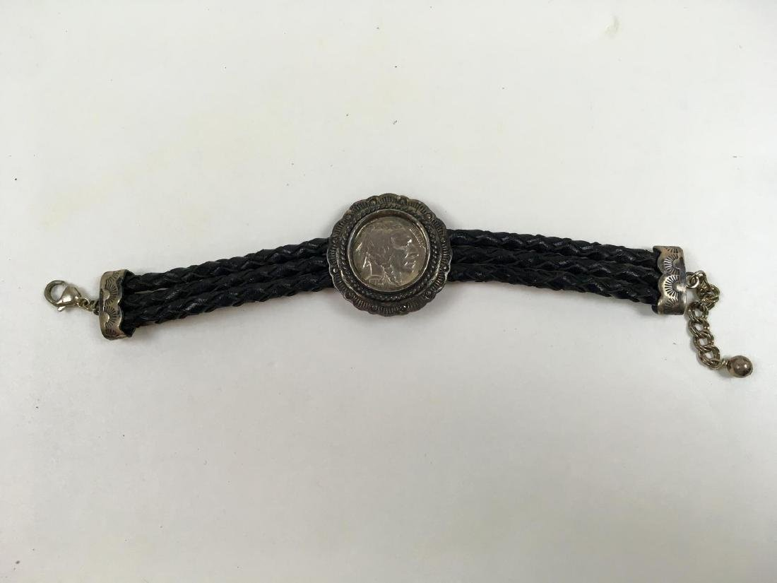 TWO STERLING SILVER COIN BRACELETS - 9