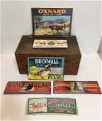 6 VINTAGE CRATE AND CAN LABELS PLUS BOX