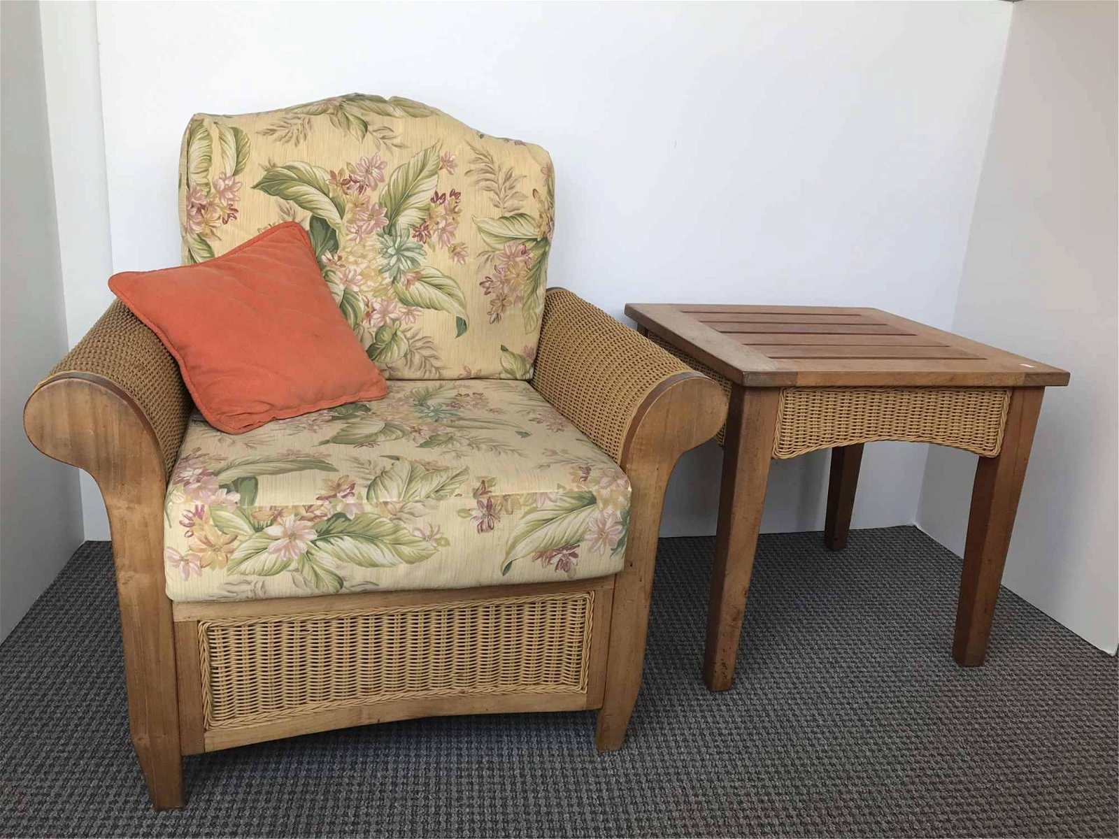 RATTAN CHAIR AND MATCHING SIDE TABLE