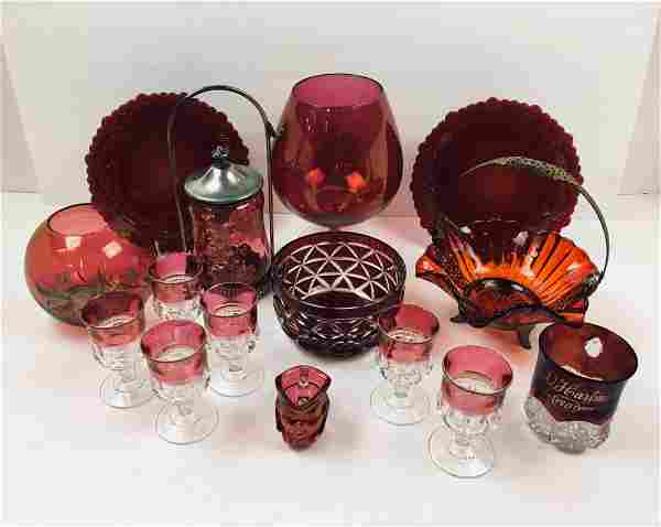 15 PCS OF RUBY & CRANBERRY GLASSWARE