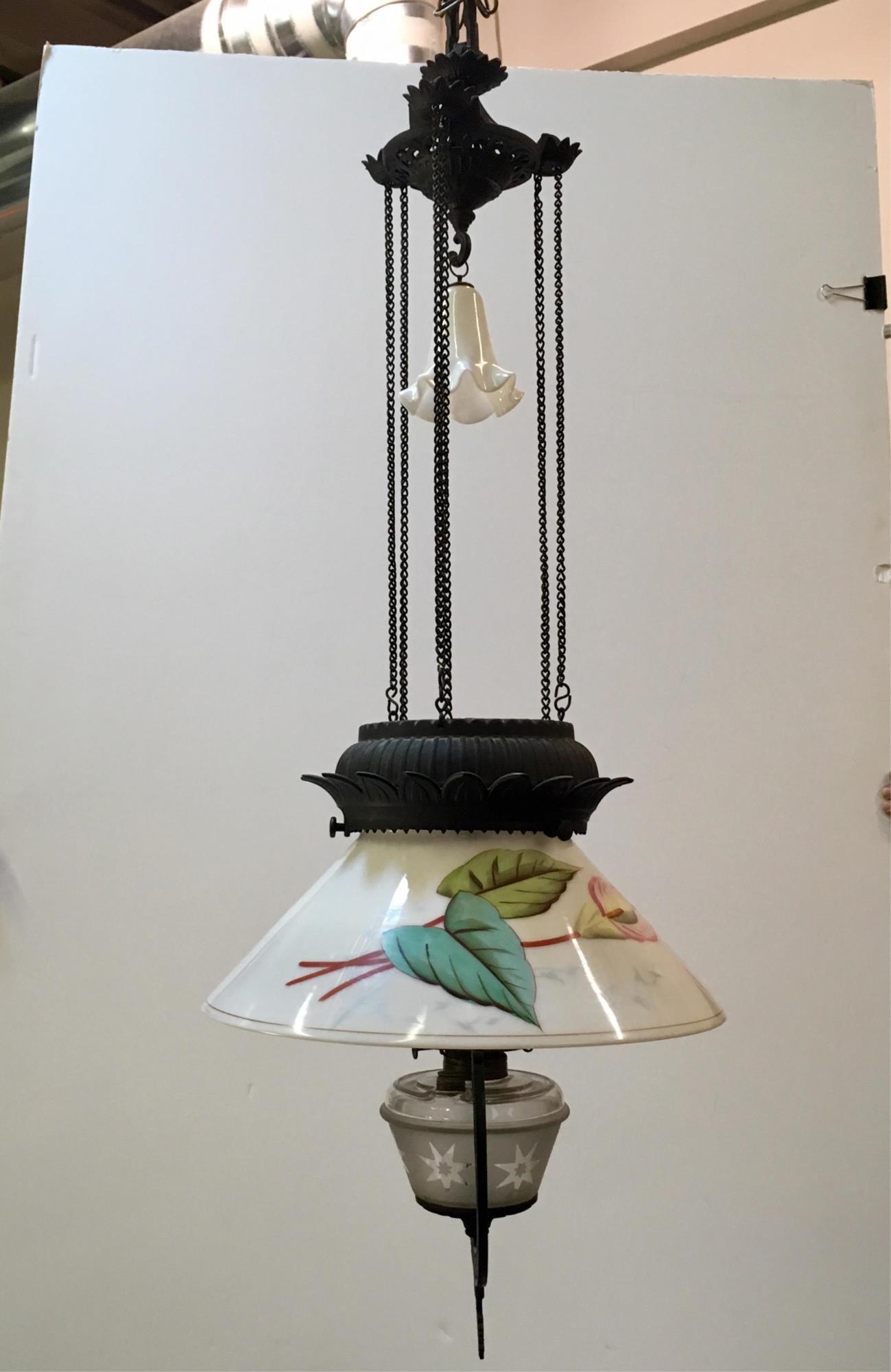 VICTORIAN ERA WROUGHT IRON HANGING OIL LAMP