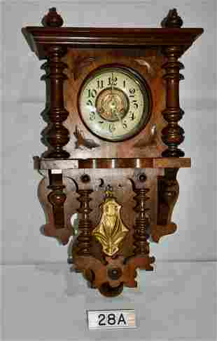 German Walnut Case Wall Clock