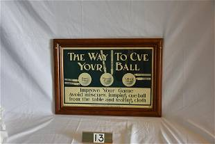 """Advertising Poster """"The Way To Cue Your Ball"""""""