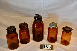 Group of Amber Canning Jars