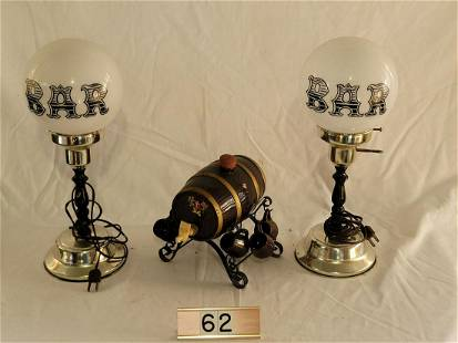 Pair of Nar Lights, Whiskey Barrel woth 6 Shots