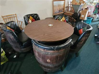 6 Piece Whiskey Barrel Tabe & Chairs- Sears Circa 1970