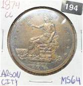 1874-CC Silver Trade Dollar CHOICE BU