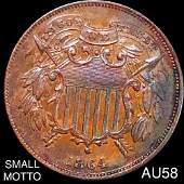 "1864 Two Cent Piece CHOICE AU ""SML MOTTO"""
