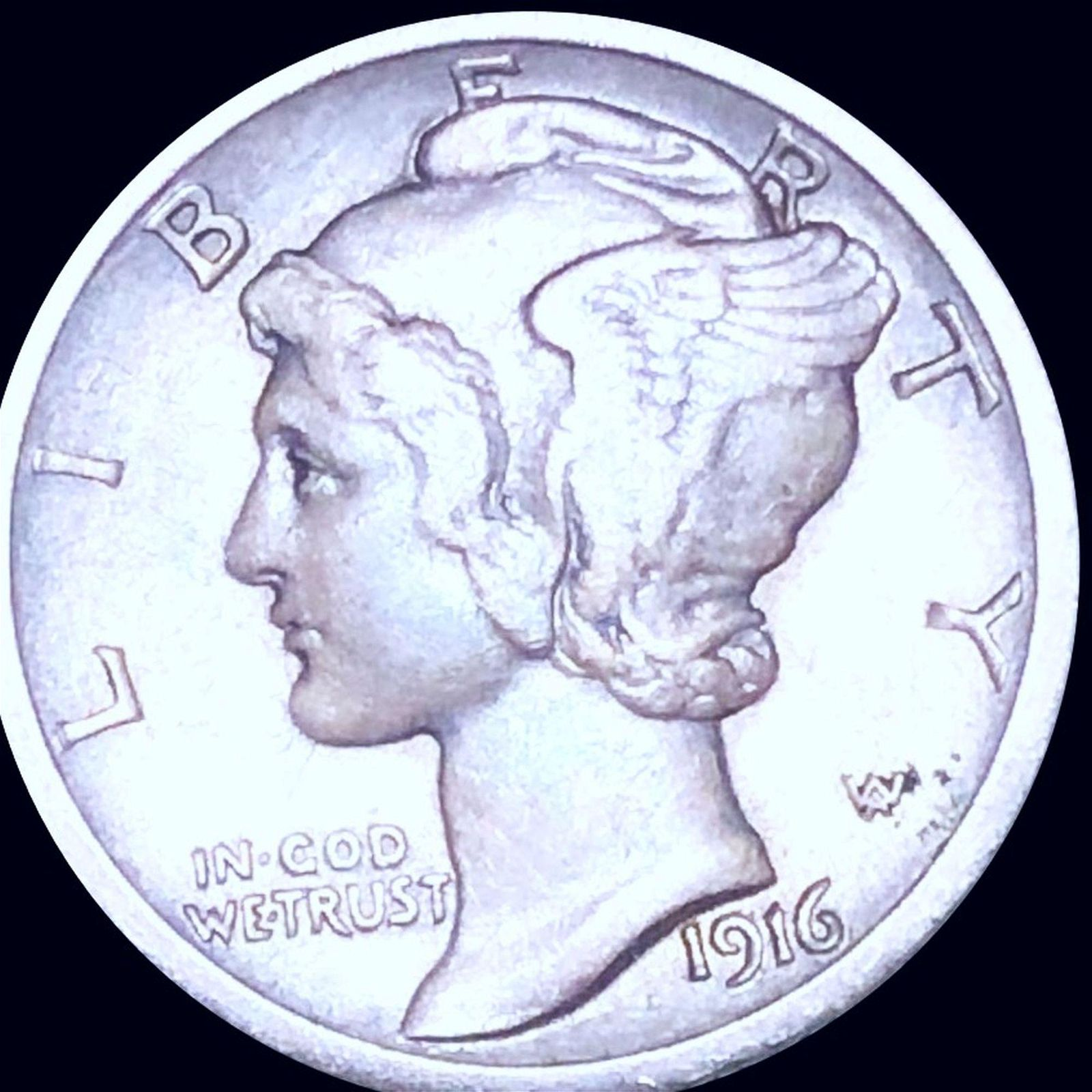 1916-D Mercury Silver Dime NEARLY UNCIRCULATED