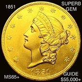 1851 $20 Gold Double Eagle SUPERB GEM BU
