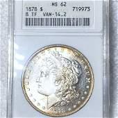1878 8TF Morgan Silver Dollar ANACS - MS62