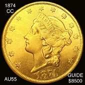 1874CC 20 Gold Double Eagle CHOICE AU