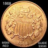 1868 Two Cent Piece GEM BU RED