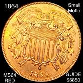 """1864 Two Cent Piece CHOICE BU RED """"SML MOTTO"""""""