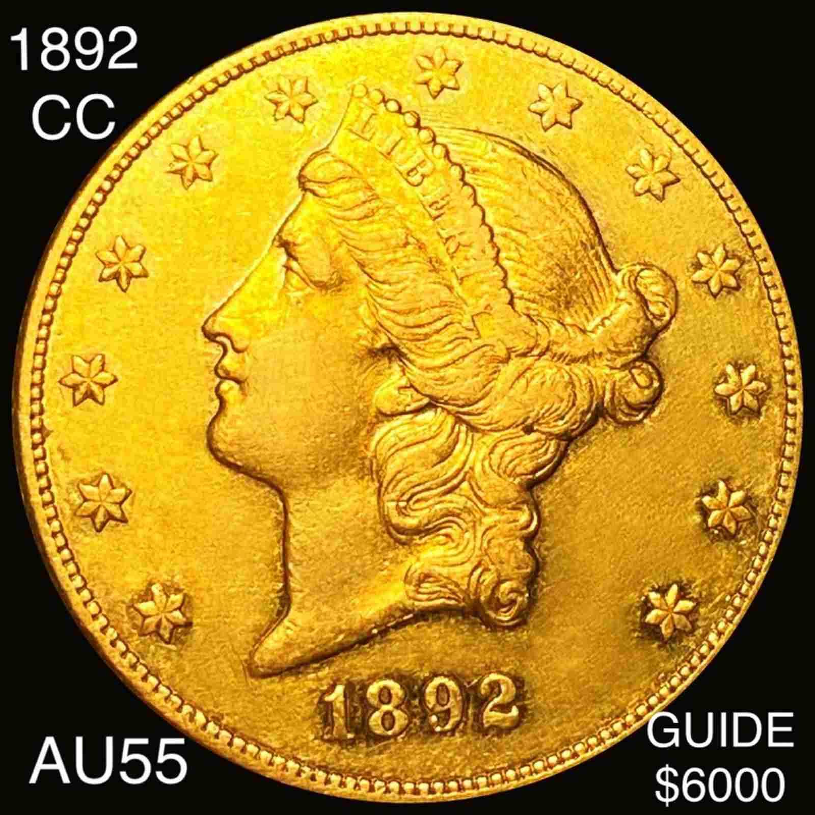 1892-CC $20 Gold Double Eagle CHOICE AU