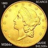 1860-S $20 Gold Double Eagle CHOICE BU