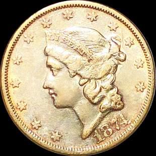 1874-S $20 Gold Double Eagle AU+