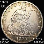 1870-CC Seated Liberty Half Dollar LIGHT CIRC