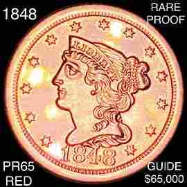 1848 Braided Hair Half Cent GEM PROOF RED