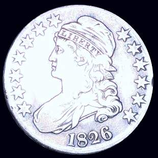 1826 Capped Bust Half Dollar LIGHTLY CIRCULATED