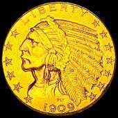 1909 $5 Gold Half Eagle UNCIRCULATED