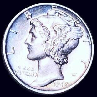 1942/1 Mercury Silver Dime GEM BU FSB