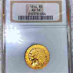 1914 $5 Gold Half Eagle NGC - AU58