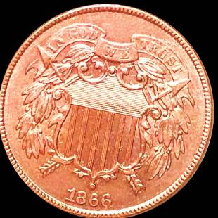 1866 Two Cent Piece UNCIRCULATED RED