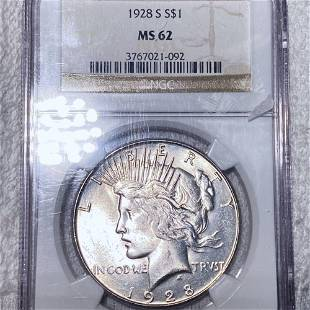 1928-S Silver Peace Dollar NGC - MS62