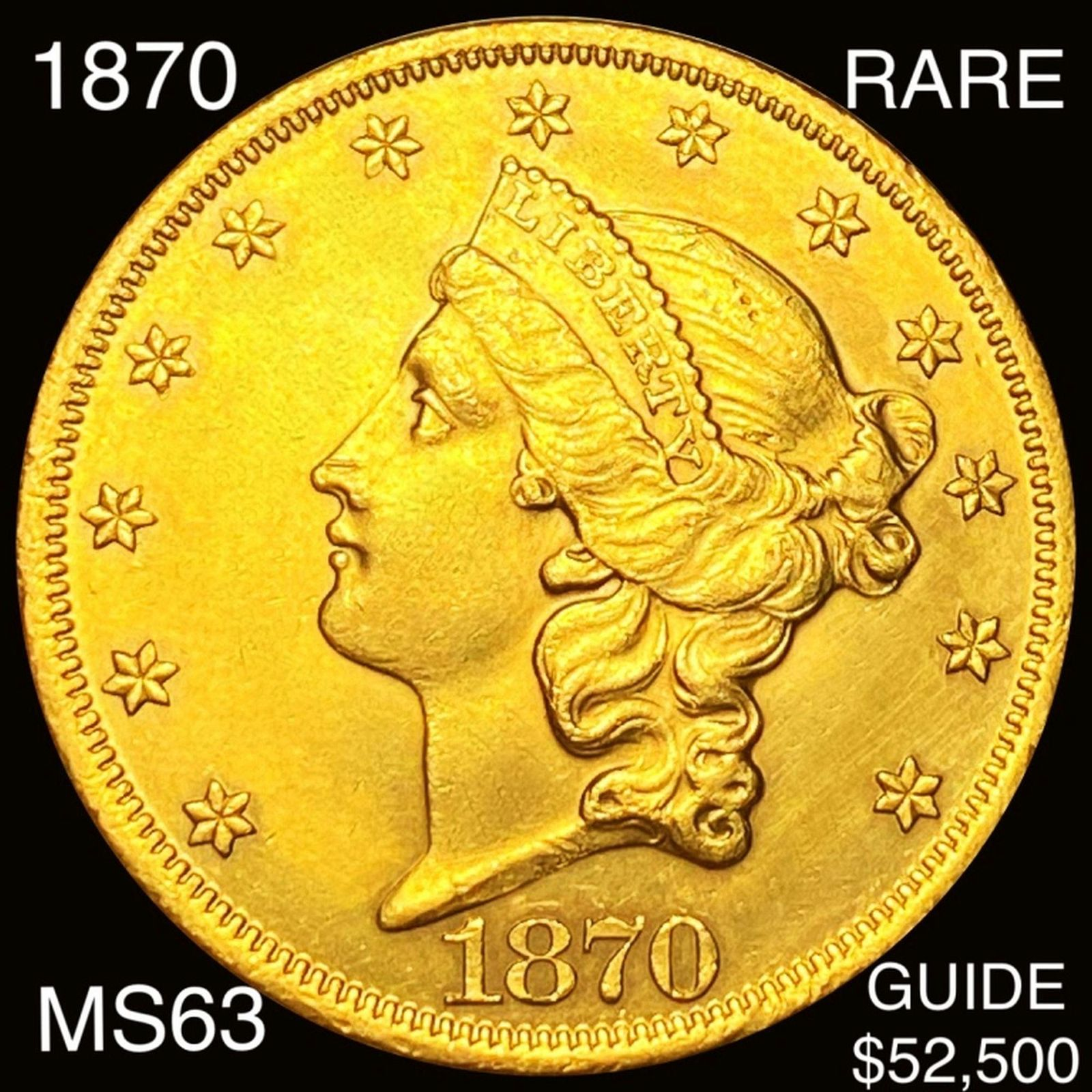 1870 $20 Gold Double Eagle CHOICE BU