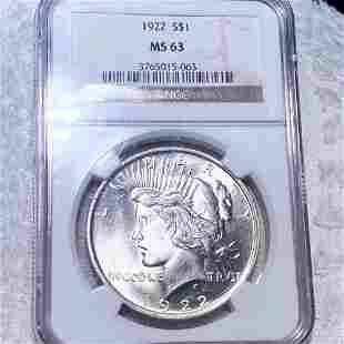 1922 Silver Peace Dollar NGC - MS63
