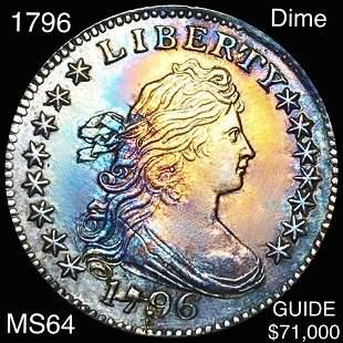 1796 Draped Bust Dime CHOICE BU