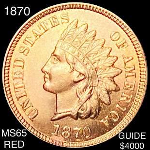1870 Indian Head Penny GEM BU RED