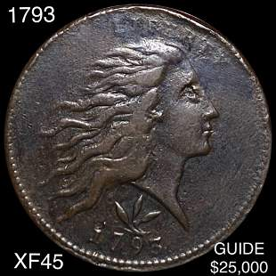 1793 Wreath Cent LIGHTLY CIRCULATED