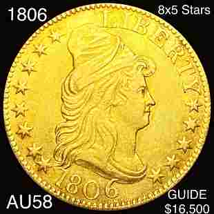 1806 $5 Gold Half Eagle CHOICE AU 8X5 STARS