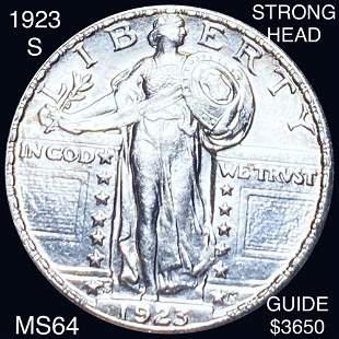 1923-S Standing Quarter CHOICE BU STRONG HEAD