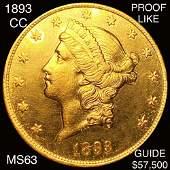1893-CC $20 Gold Double Eagle CHOICE BU PL