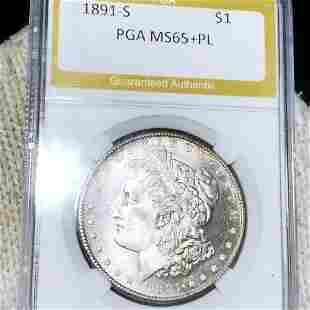 1891-S Morgan Silver Dollar PGA - MS65+ PL