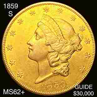 1859-S $20 Gold Double Eagle UNCIRCULATED