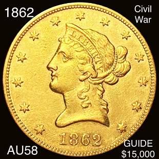 1862 $10 Gold Eagle CHOICE AU